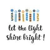 Deje el brillo ligero brillante Tarjeta de felicitación de Jánuca con la mano creativa dibujada velas del menorah