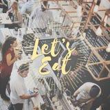 Deje el ` s comer concepto gastrónomo de la consumición de la cocina del abastecimiento de la comida Fotografía de archivo