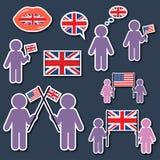Deje el ` s hablar inglés Iconos fijados ilustración del vector