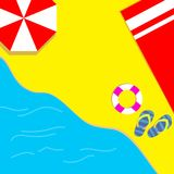 Deje el ` s tomar el sol en la playa con las toallas rojas, paraguas rojos y disfrutar del verano en la facilidad ilustración del vector
