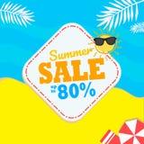 Deje el ` s tomar el sol en la playa con las toallas rojas, paraguas rojos y disfrutar del verano en la facilidad libre illustration