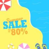Deje el ` s tomar el sol en la playa con los paraguas rojos y disfrutar del verano en la facilidad stock de ilustración