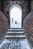 Deje la nieve caer abajo Comacchio Emilia Romagna Ferrara Foto de archivo libre de regalías
