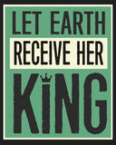 Deje la tierra recibir a su rey Vintage Poster stock de ilustración