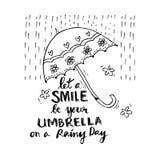 deje una sonrisa ser su paraguas en un día lluvioso Imagenes de archivo