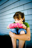 Dejected. Photo of Maggie in a pink cast Royalty Free Stock Photography