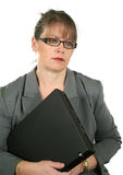 Dejected Businesswoman With Laptop Royalty Free Stock Images