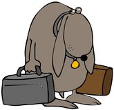 Dejected Dog. This illustration depicts a dejected dog carrying two suitcases Stock Photos