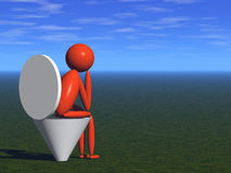 Dejection. Person on lavatory pan (3d render Royalty Free Stock Photo