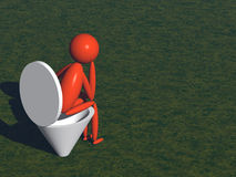 Dejection. Person on lavatory pan (3d render Royalty Free Stock Photos