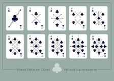 Dek van clubs Van Ace aan tien van clubs vector illustratie