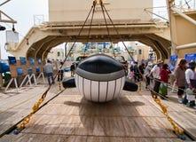 Dek van het Japanse schip Nishin Maru van de Walvisvangst stock afbeelding