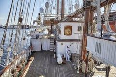Dek van Spaans Marine Varend Opleidingsschip Juan Sebastian de Elcano dat in Szczecin wordt vastgelegd royalty-vrije stock foto's