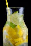 Dekantiergefäß mit Sodawasser, Zitronen und einem Stroh auf einem schwarzen Hintergrund Lizenzfreie Stockbilder