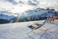 Dekchairs in the alps Royalty Free Stock Images