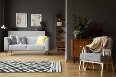 Deken op leunstoel in woonkamerbinnenland met gevormd tapijt, grijze bank en affiches Echte foto stock afbeelding