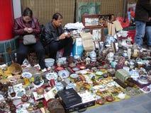 Dekenverkopers - de Antieke Markt van Panjiayuan Stock Foto