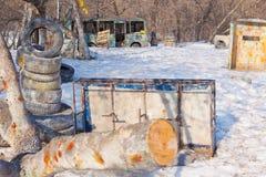 Barricades op paintball royalty-vrije stock afbeeldingen