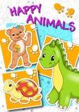 Dekking - gelukkige dieren Stock Foto's