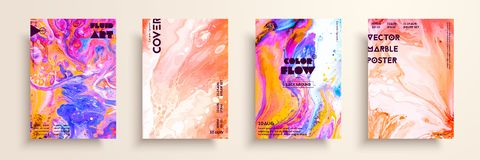 Dekking met acryl vloeibare texturen Kleurrijke abstracte samenstelling modern kunstwerk Creatieve vloeibare kleurenachtergronden vector illustratie