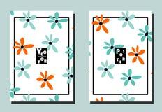 Dekking met blauwe en oranje bloemen op witte achtergrond Twee bloemen vectormalplaatjes van vliegers A4 formaat vector illustratie