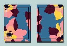 Dekking met bloem Twee bloemen vectormalplaatjes van vliegers A4 formaat royalty-vrije illustratie