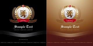 Dekking met embleem-laag in twee varianten Stock Fotografie
