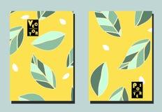 Dekking met grafische bladeren en zaden op gele achtergrond Twee bloemen vectormalplaatjes van vliegers A4 formaat royalty-vrije illustratie