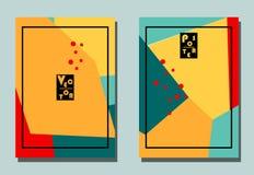 Dekking met grafische elementen - veelhoeken en punten Gele, oranje, rode, blauwe kleuren Leuke achtergrond avan-garde stock illustratie