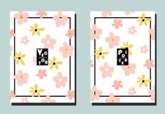 Dekking met roze en gele bloemen op witte achtergrond Twee bloemen vectormalplaatjes van vliegers A4 formaat stock illustratie