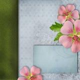 Dekking voor album met boeket van roze bloemen Stock Afbeelding