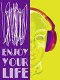 Dekking voor conceptenmuziek Een abstracte vector voor mens het luisteren muziek met hoofdtelefoons Artistiek handdrawontwerp Vec Royalty-vrije Stock Afbeeldingen