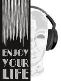Dekking voor muziekconcept Een abstracte vector voor mens het luisteren muziek met hoofdtelefoons Artistiek hand getrokken ontwer Stock Fotografie