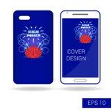 Dekkings mobiele smartphone met grappige menselijke hersenen en elektrische bliksem in beeldverhaalstijl op witte achtergrond Stock Afbeeldingen