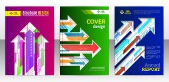 Dekkingsbrochure met abstracte diagonale en verticale kleurrijke arro Stock Fotografie