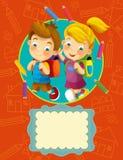 Dekkingsillustratie - goed voor dekking of diploma - illustratie voor de kinderen Stock Fotografie