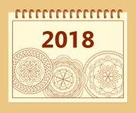 A5 dekkingskalenderjaar 2018 mandalas Stock Fotografie