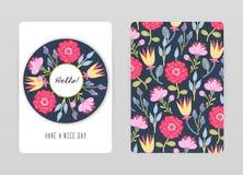 Dekkingsontwerp met bloemenpatroon Hand getrokken creatieve bloemen Kleurrijke artistieke achtergrond met bloesem stock illustratie