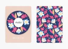 Dekkingsontwerp met bloemenpatroon Hand getrokken creatieve bloemen Kleurrijke artistieke achtergrond met bloesem royalty-vrije illustratie