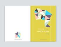 Dekkingsontwerp voor de vlieger van het Brochurepamflet Abstracte geometrisch Abstract modern cijfer van driehoek A4 grootte Stock Foto's