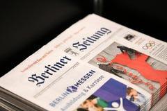 Dekkingspagina van het Duitse krantenberliner zeitung Royalty-vrije Stock Fotografie