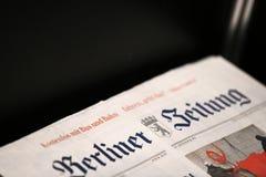 Dekkingspagina van het Duitse krantenberliner zeitung Stock Foto