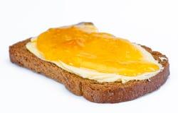 Dekkingstoost met boter en jam Royalty-vrije Stock Afbeeldingen