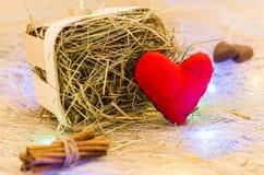 Deklaracja miłość Serce, cynamon i czekolada, tła karciany bożych narodzeń girlandy ilustraci wektor Zdjęcie Stock