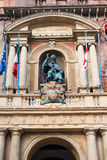 Dekor der Fassade von palazzo d ` accursio im Bologna Lizenzfreie Stockbilder