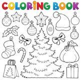 Dekor 1 för jul för färgläggningbok royaltyfri illustrationer