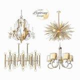 Dekor för ljuskronalampbelysning Arkivbild