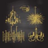 Dekor för ljuskronalampbelysning Arkivfoto