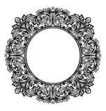 Dekor för ram för tappningbarockrunda Grafisk linje konst för detaljerad prydnadvektorillustration Arkivfoto