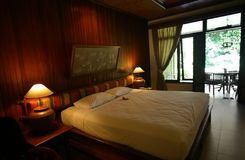 Dekor för stil för Bali hotellsovrum Arkivfoton